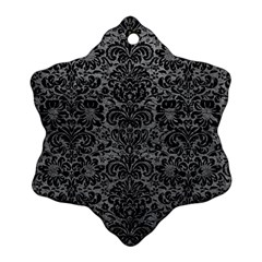 Damask2 Black Marble & Gray Leather (r) Snowflake Ornament (two Sides)