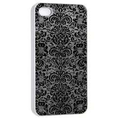 Damask2 Black Marble & Gray Leather (r) Apple Iphone 4/4s Seamless Case (white)