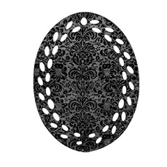 Damask2 Black Marble & Gray Leather (r) Ornament (oval Filigree)