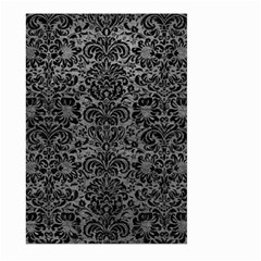 Damask2 Black Marble & Gray Leather (r) Large Garden Flag (two Sides)
