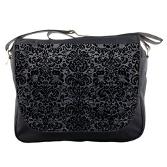 Damask2 Black Marble & Gray Leather (r) Messenger Bags