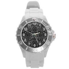 Damask2 Black Marble & Gray Leather (r) Round Plastic Sport Watch (l)