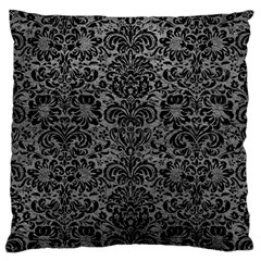 Damask2 Black Marble & Gray Leather (r) Large Cushion Case (one Side)
