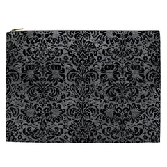 Damask2 Black Marble & Gray Leather (r) Cosmetic Bag (xxl)
