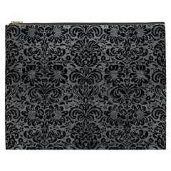 Damask2 Black Marble & Gray Leather (r) Cosmetic Bag (xxxl)