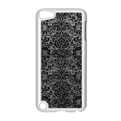 Damask2 Black Marble & Gray Leather (r) Apple Ipod Touch 5 Case (white)