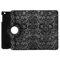 Damask2 Black Marble & Gray Leather (r) Apple Ipad Mini Flip 360 Case