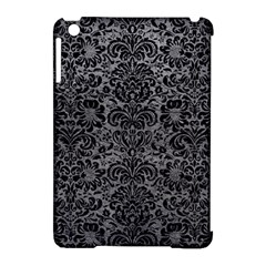 Damask2 Black Marble & Gray Leather (r) Apple Ipad Mini Hardshell Case (compatible With Smart Cover)
