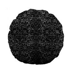 Damask2 Black Marble & Gray Leather (r) Standard 15  Premium Round Cushions