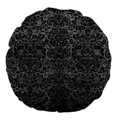 Damask2 Black Marble & Gray Leather (r) Large 18  Premium Round Cushions