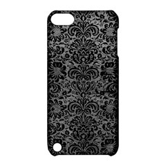 Damask2 Black Marble & Gray Leather (r) Apple Ipod Touch 5 Hardshell Case With Stand