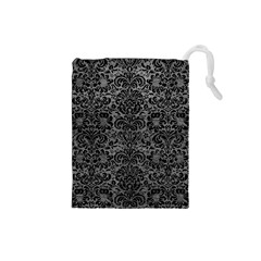 Damask2 Black Marble & Gray Leather (r) Drawstring Pouches (small)