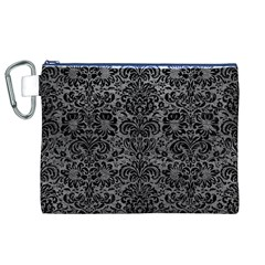 Damask2 Black Marble & Gray Leather (r) Canvas Cosmetic Bag (xl)