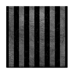Stripes1 Black Marble & Gray Leather Tile Coasters