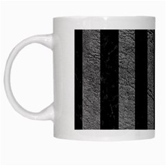 Stripes1 Black Marble & Gray Leather White Mugs