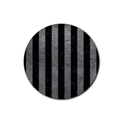 Stripes1 Black Marble & Gray Leather Rubber Round Coaster (4 Pack)