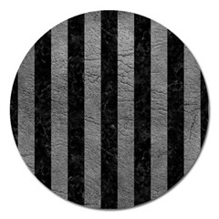 Stripes1 Black Marble & Gray Leather Magnet 5  (round)