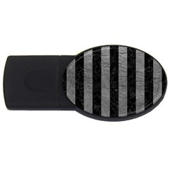 Stripes1 Black Marble & Gray Leather Usb Flash Drive Oval (4 Gb)