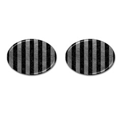 Stripes1 Black Marble & Gray Leather Cufflinks (oval)