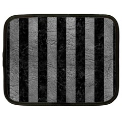 Stripes1 Black Marble & Gray Leather Netbook Case (xxl)