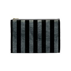 Stripes1 Black Marble & Gray Leather Cosmetic Bag (medium)