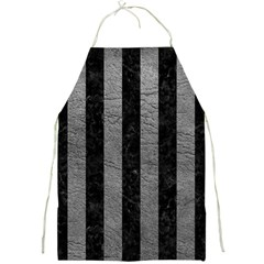 Stripes1 Black Marble & Gray Leather Full Print Aprons