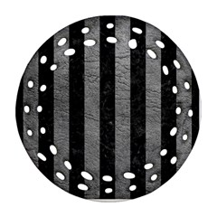 Stripes1 Black Marble & Gray Leather Round Filigree Ornament (two Sides)