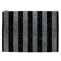 Stripes1 Black Marble & Gray Leather Cosmetic Bag (xxl)