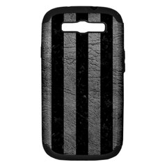 Stripes1 Black Marble & Gray Leather Samsung Galaxy S Iii Hardshell Case (pc+silicone)