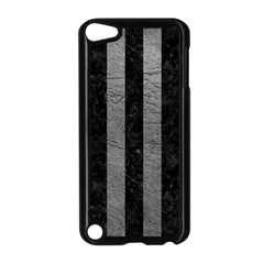 Stripes1 Black Marble & Gray Leather Apple Ipod Touch 5 Case (black)