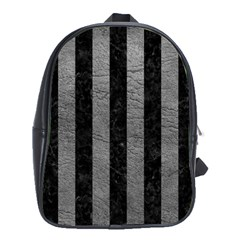 Stripes1 Black Marble & Gray Leather School Bag (xl)