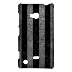 Stripes1 Black Marble & Gray Leather Nokia Lumia 720