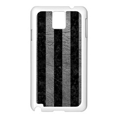 Stripes1 Black Marble & Gray Leather Samsung Galaxy Note 3 N9005 Case (white)