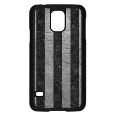 Stripes1 Black Marble & Gray Leather Samsung Galaxy S5 Case (black)