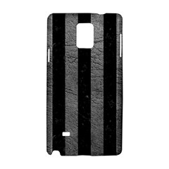 Stripes1 Black Marble & Gray Leather Samsung Galaxy Note 4 Hardshell Case