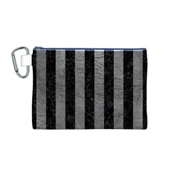 Stripes1 Black Marble & Gray Leather Canvas Cosmetic Bag (m)