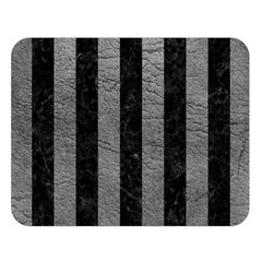 Stripes1 Black Marble & Gray Leather Double Sided Flano Blanket (large)