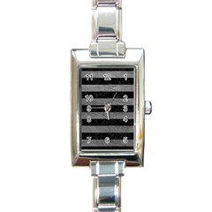 Stripes2 Black Marble & Gray Leather Rectangle Italian Charm Watch