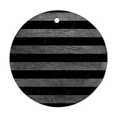 Stripes2 Black Marble & Gray Leather Ornament (round)