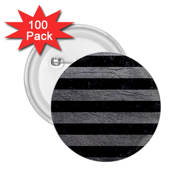 STRIPES2 BLACK MARBLE & GRAY LEATHER 2.25  Buttons (100 pack)