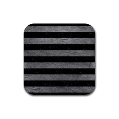 Stripes2 Black Marble & Gray Leather Rubber Square Coaster (4 Pack)