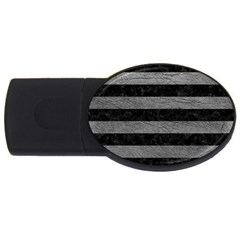 Stripes2 Black Marble & Gray Leather Usb Flash Drive Oval (4 Gb)
