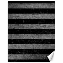 Stripes2 Black Marble & Gray Leather Canvas 12  X 16