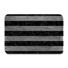 Stripes2 Black Marble & Gray Leather Plate Mats