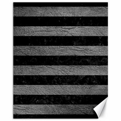 Stripes2 Black Marble & Gray Leather Canvas 11  X 14