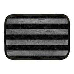 Stripes2 Black Marble & Gray Leather Netbook Case (medium)