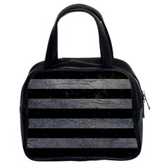 Stripes2 Black Marble & Gray Leather Classic Handbags (2 Sides)