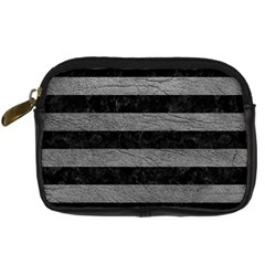 Stripes2 Black Marble & Gray Leather Digital Camera Cases