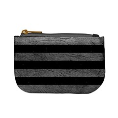 Stripes2 Black Marble & Gray Leather Mini Coin Purses