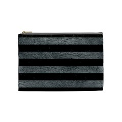 Stripes2 Black Marble & Gray Leather Cosmetic Bag (medium)
